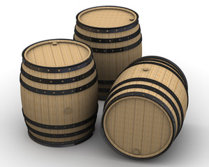 Wooden barrels. Isolated on white surface. The three-dimensional illustration
