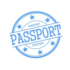 passport blue stamp text on blue circle on a white background and star