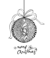 Merry Christmas card. Vector Christmas ball .Zentangle style. Vector Illustration