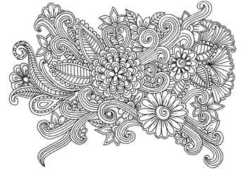 Vector doodle flower drawing for coloring