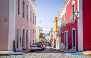 Beautiful steep street in old San Juan, Puerto Rico