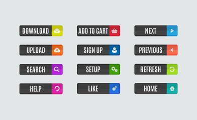 Modern flat design website navigation buttons. Rectangle shape