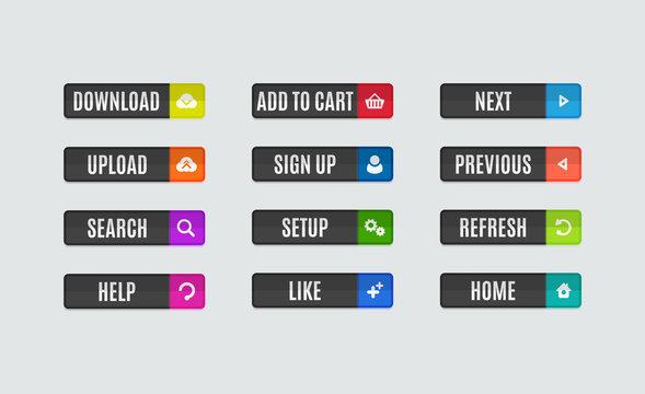 Modern flat design website navigation buttons. Rectangle shape