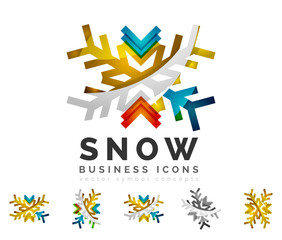 Set of abstract colorful snowflake logo icons, winter concepts, clean modern geometric design