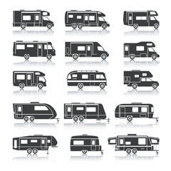 Recreational Vehicle Black Icons