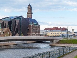 Downtown Malmo with old and modern buildings, Sweden
