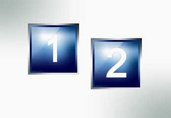 Blue glossy universal buttons with numbers and chrome frame