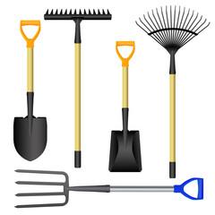 Rake, shovel, pitchfork set isolated. Vector illustration.