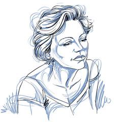 Artistic hand-drawn image, portrait of delicate woman