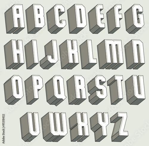 3d font geometric dimensional letters set. Black Bedroom Furniture Sets. Home Design Ideas