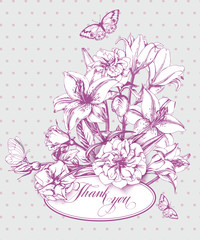 Vintage  thank you  with  blooming lilies and with  butterflies. With place for your text. (Use for Boarding Pass, birthday card, invitations) Template Vector.