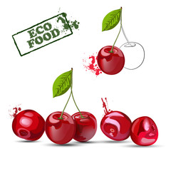 Сherry. Set of ripe red cherries  isolated on white background.  Vector illustration.