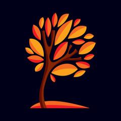 Artistic stylized natural design symbol, decorative beautiful tr