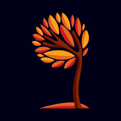 Artistic stylized design symbol, decorative beautiful tree illus