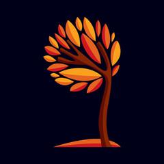 Artistic stylized design symbol, decorative beautiful tree illus