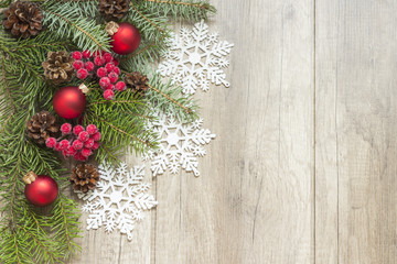 Fototapeta Świąteczna dekoracja na drewnianych deskach
