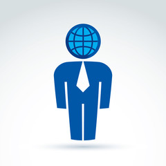 White collar office worker man icon with earth globe symbol