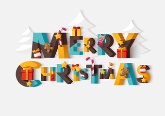 Merry Christmas typographic poster