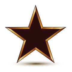 Refined vector black star with golden outline, festive 3d