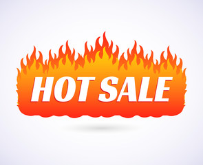 Text Hot Sale of goods at big discount prices. Flames of fire banner, poster on isolated on a white background. Vector illustration EPS 10