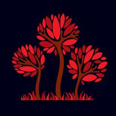 Artistic stylized natural symbol, creative tree illustration. Ca