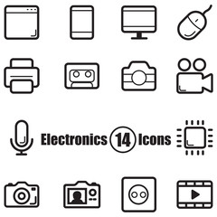 Electronics set of 14 icons with lines in flat style
