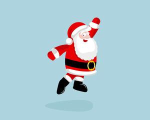 Santa Claus dancing and jumping