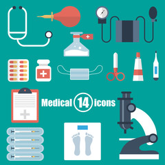 Medical set of 14 icons in a flat style
