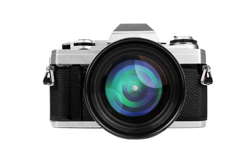Old-fashion retro camera with big lens isolated on white