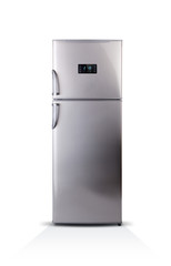 Stainless steel modern refrigerator isolated on white. The external LED display, with blue glow. Fridge freezer.