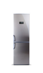 Stainless steel big refrigerator isolated on white. The external LED display, with blue glow. Fridge freezer.