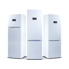 Three refrigerators isolated on white. The external LED display, with blue glow. Fridge freezer.