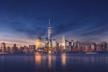 Wall Mural - New York City - Manhattan after sunset - beautiful cityscape