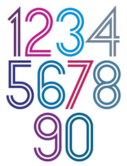 Poster rounded big colorful numbers with double stripes on white