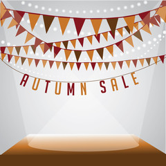 Autumn sale bunting background royalty free stock illustration for greeting card, ad, promotion, poster, flier, blog, article, social media, marketing