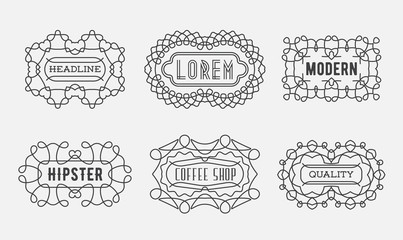 Set of Luxury Insignias Logotypes Template Retro Design Line Art Vintage Style Victorian Swash Elements Vector Collection