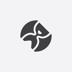 hourglass cutted identity template icon