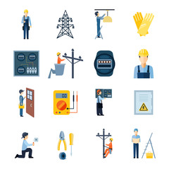 Electricity Repairmen Icons Set