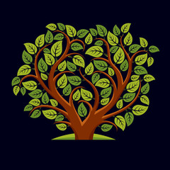 Vector illustration of tree with decorative leaves and branches