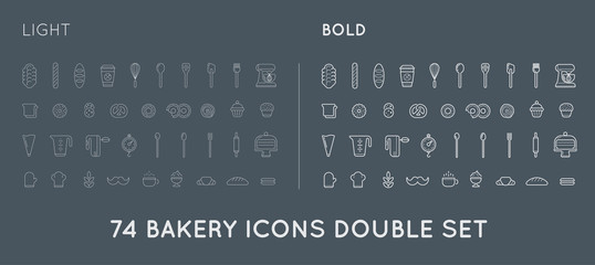 Set of Vector Bakery Pastry Elements and Bread Icons Illustration can be used as Logo or Icon in premium quality Thin and Bold