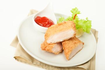 Fried chicken meat in breadcrumbs