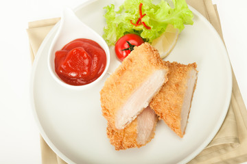 Fried chicken meat in breadcrumbs