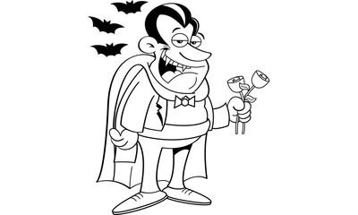 Black and white illustration of a vampire holding roses.