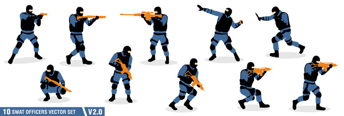 10 swat officers silhouette vector set v.02