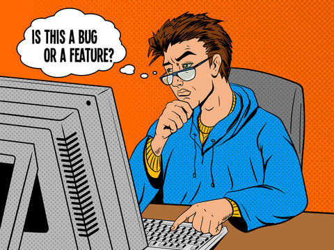 Coder programmer at work comic book style vector