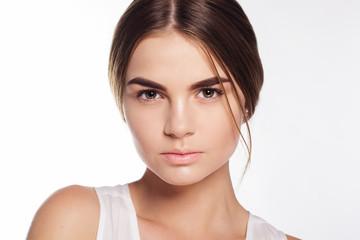 Face of girl with light makeup