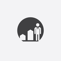 man diagram arrow cutted identity template icon