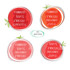 Fresh juice -  Health Food Headings vector set  - Tomatoes juice circle stickers with inscription fresh. Calligraphic Organic food hand drawn icons  collection isolated on white background. Eps 10.
