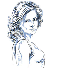 Hand-drawn vector illustration of beautiful confident woman.