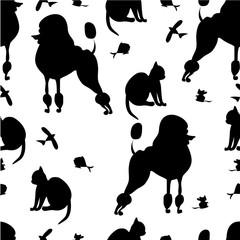 pets silhouette seamless pattern